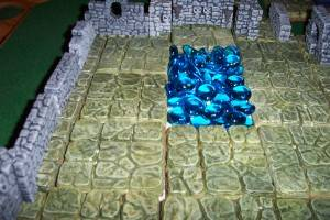 A few glass beads serve as a pool in the great hall of the mind flayer from my Age of Worms game.